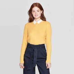 A New Day Gold Ribbed Crewneck Sweater NWT